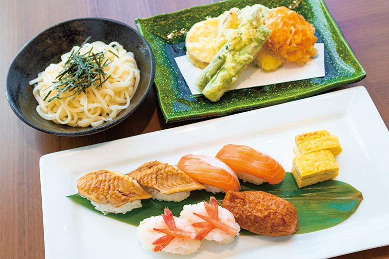 稲庭うどんと旬のお寿司御膳